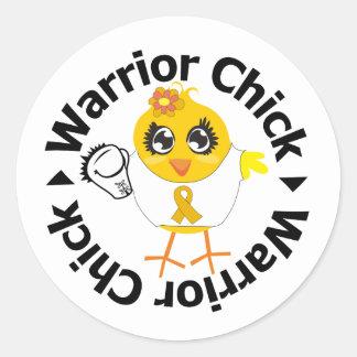 Appendix Cancer Warrior Chick Round Sticker