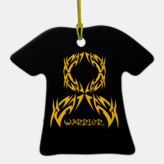 Appendix Cancer Warrior Tribal Ribbon Double-Sided T-Shirt Ceramic Christmas Ornament