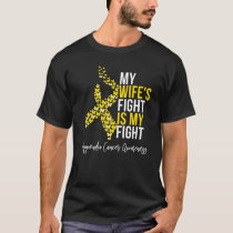 Appendix Cancer Wifes Fight Amber Ribbon Butterfly T-Shirt