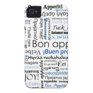 Appetit azul del Bon en muchas idiomas iPhone 4 Case-Mate Funda
