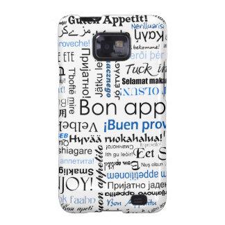 Appetit azul del Bon en muchas idiomas Samsung Galaxy SII Fundas