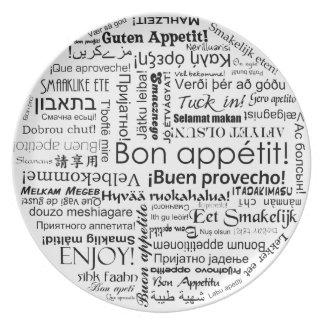 Appetit del Bon en tipografía de muchos otros idio Plato Para Fiesta