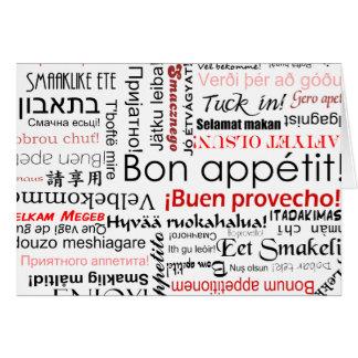 Appetit del Bon en tipografía de muchos otros idio Tarjetón