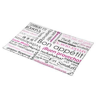 Appetit en muchas idiomas - magenta rosada del Bon Mantel