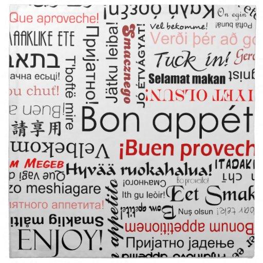 Appetit en otros idiomas - rojo del Bon Servilletas De Papel