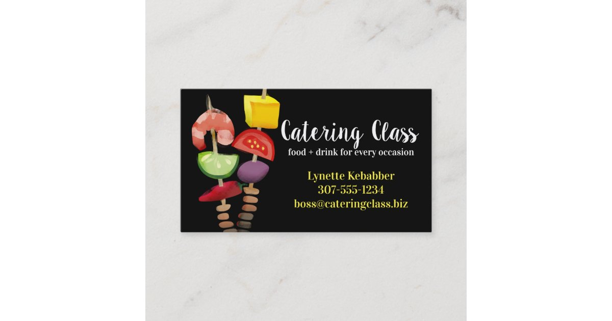 Appetizer shrimp kebab chef catering business card | Zazzle.com