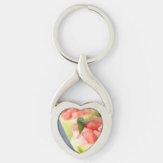 Appetizer Silver-Colored Heart-Shaped Metal Keychain