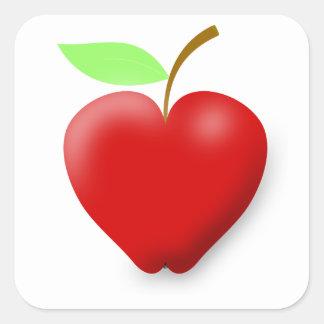 apple-148455 APPLE EN FORMA DE CORAZÓN ROJO VECTOR Pegatina Cuadrada