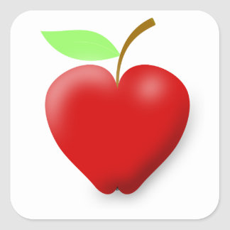 apple-148455 RED HEART SHAPED APPLE VECTOR FRUIT H Square Sticker