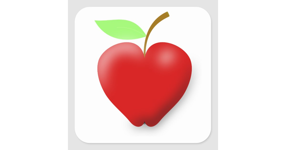 Apple 148455 Red Heart Shaped Apple Vector Fruit H Square