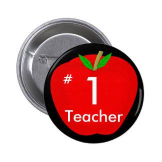 apple, #, 1, Teacher Pinback Button