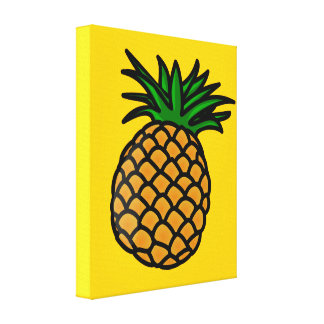 apple-25251 CARTOON PINEAPPLE YUMMY DELICIOUS FRUI Stretched Canvas Print