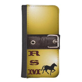 Apple 5/5s western buckle on gold monogrammed iPhone SE/5/5s wallet case