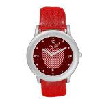 Apple a cuadros rojo del profesor mira relojes de pulsera