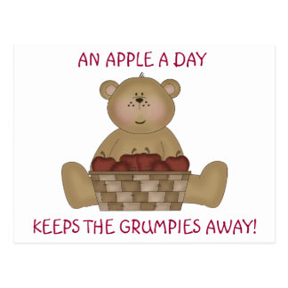 Apple a day keeps the grumpies away! postcard