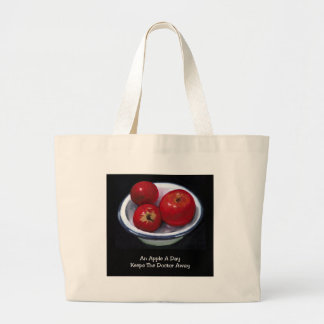 APPLE A DAY: OIL PASTEL: REALISM PAINTING LARGE TOTE BAG