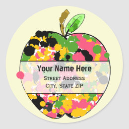 Apple Address Label - Multi Color Paint Splatter