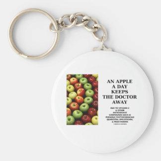Apple al día guarda al doctor Away (el consejo de  Llavero Redondo Tipo Pin