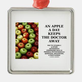Apple al día guarda al doctor Away (el humor de la Adorno Cuadrado Plateado