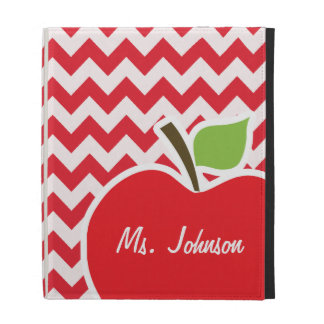 Apple; Alizarin Crimson Chevron iPad Folio Case