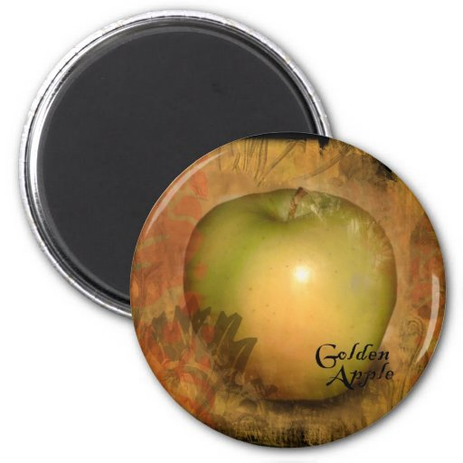 Apple amarillo imán redondo 5 cm