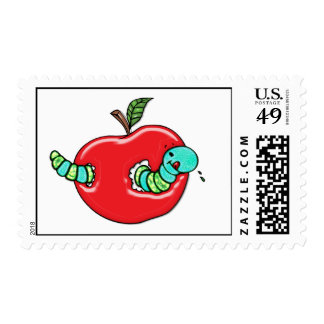 Apple and a Hungry Worm Postage Stamp