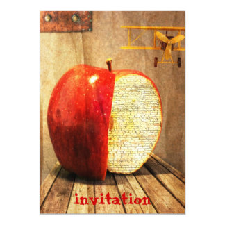 "apple and airplane surrealistic party invitation 5"" x 7"" invitation card"