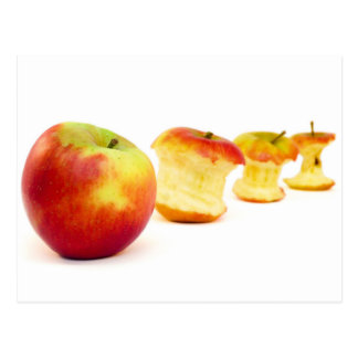 Apple and apple cores isolated on white postcard