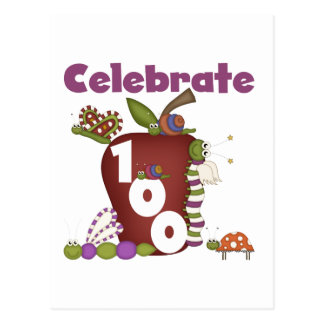 Apple and Bugs Celebrate 100 Tshirts and Gifts Postcard