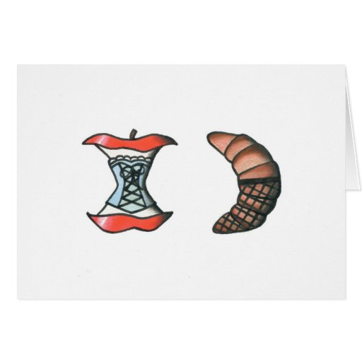 Apple and Croissant Stationery Note Card