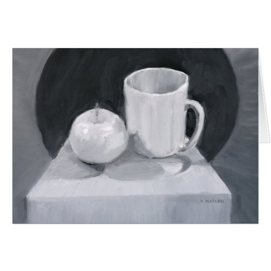 Apple and Cup in BW paint Card