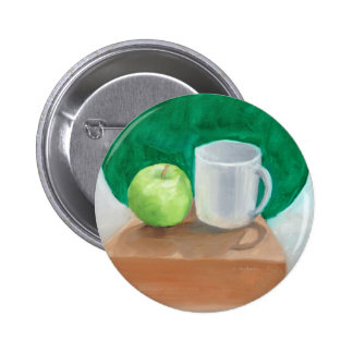 Apple and Cup in color oil paint Buttons