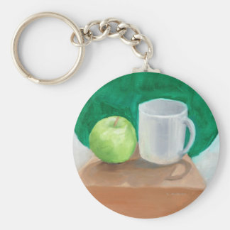 Apple and Cup in color oil paint Keychain