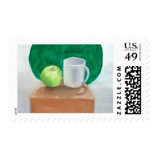 Apple and Cup in color oil paint Postage Stamp
