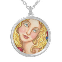 APPLE AND EVE FOLK ART SILVER PLATED NECKLACE