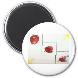 Apple and Hearts Transformation 2 Inch Round Magnet