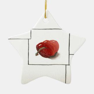 Apple and Hearts Transformation Ceramic Ornament