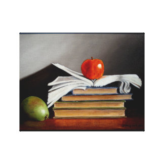 Apple and Pear with Books Original Oil Painting Canvas Print