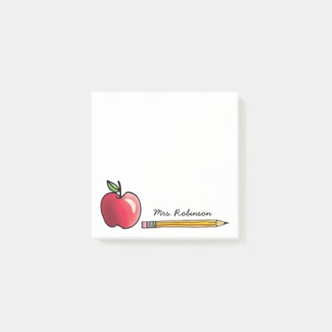 Apple and Pencil Personalized Teacher 3 x 3 Post-it Notes