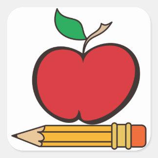 Apple and Pencil Square Sticker