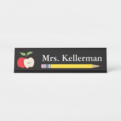 Apple and Pencil Teacher's Name Black Desk Name Plate