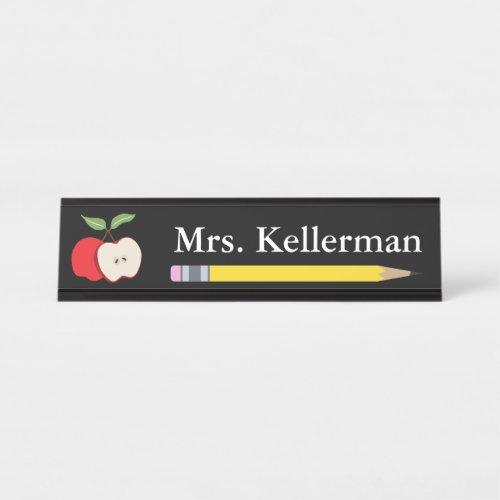 Apple and Pencil Teacher's Name Black Desk Name Plate