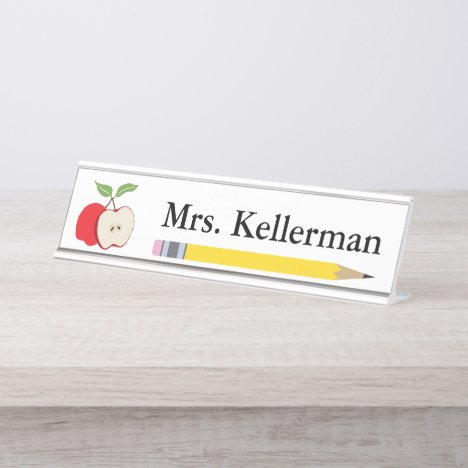 Apple and Pencil Teacher's Name Desk Name Plate