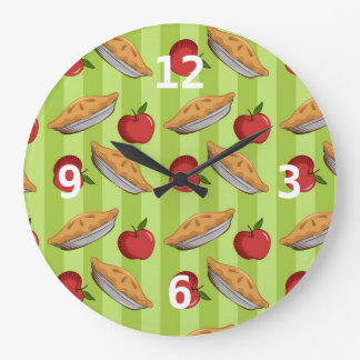 Apple and pie pattern large clock