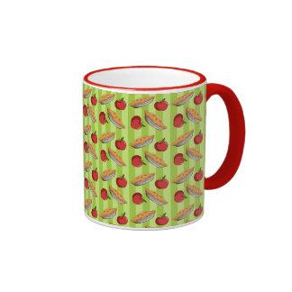 Apple and pie pattern coffee mugs