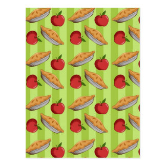 Apple and pie pattern postcard