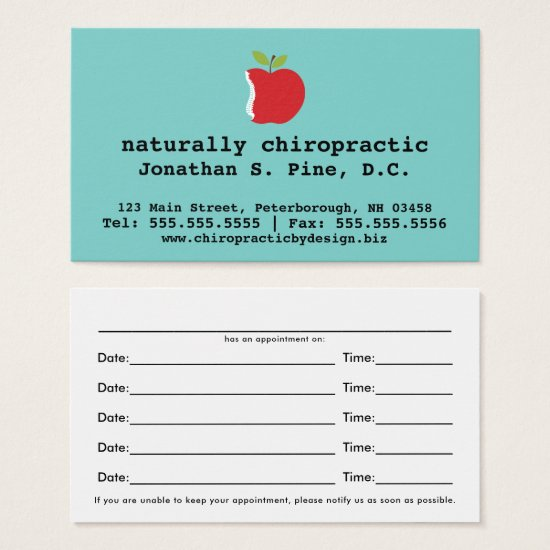 Apple and Rainbow Chiropractic Appointment Cards