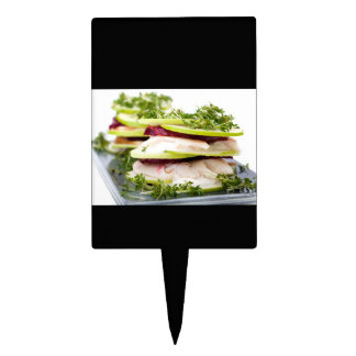 Apple and trout appetizer cake topper