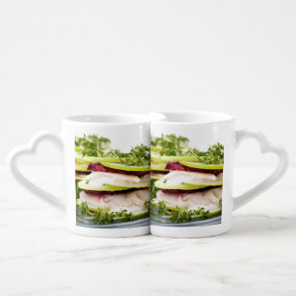 Apple and trout appetizer coffee mug set