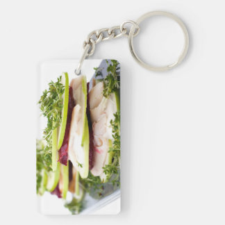 Apple and trout appetizer Double-Sided rectangular acrylic keychain